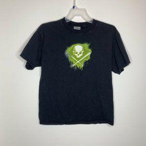 Nike Mens L Black Skull and Bats Short Sleeve